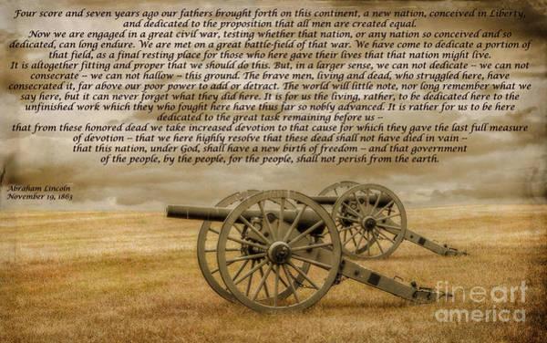 Gettysburg Address Wall Art - Digital Art - Gettysburg Address Cannon by Randy Steele