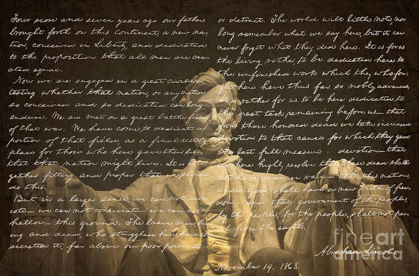 President Photograph - Gettysburg Address by Diane Diederich