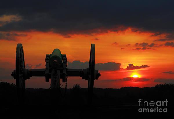 Cemetery Ridge Photograph - Gettysburg Battlefield Cannon Sunset by Randy Steele