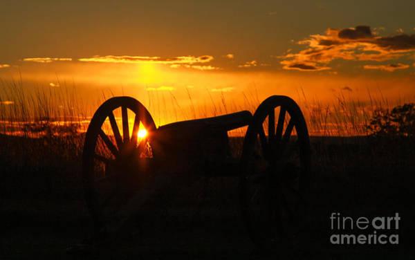 Cemetery Ridge Photograph - Gettysburg Cannon Sunset by Randy Steele