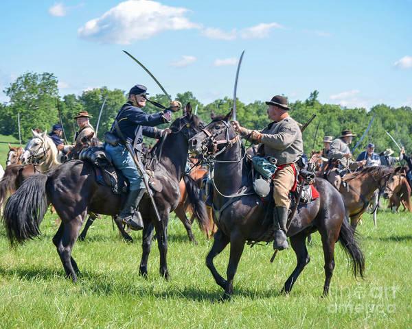 Photograph - Gettysburg Cavalry Battle 7978c  by Cynthia Staley