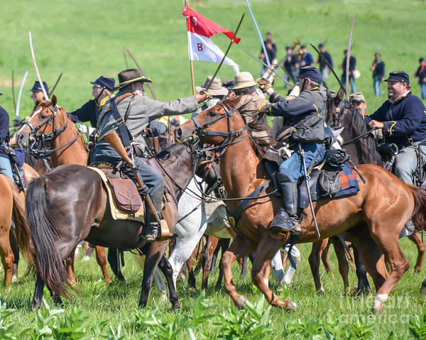 Photograph - Gettysburg Cavalry Battle 8021c  by Cynthia Staley