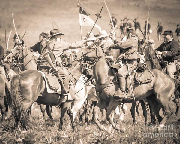 Photograph - Gettysburg Cavalry Battle 8021s  by Cynthia Staley