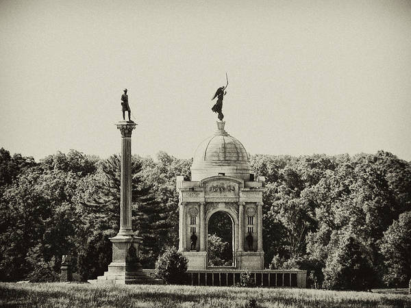 Photograph - Gettysburg Memorial In Black And White by Bill Cannon