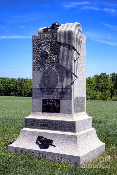 Wall Art - Photograph - Gettysburg National Park 121st Pennsylvania Infantry Memorial  by Olivier Le Queinec
