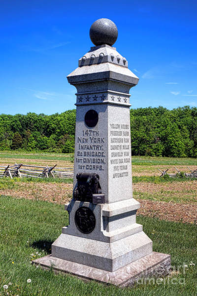 Photograph - Gettysburg National Park 147th New York Infantry Memorial by Olivier Le Queinec
