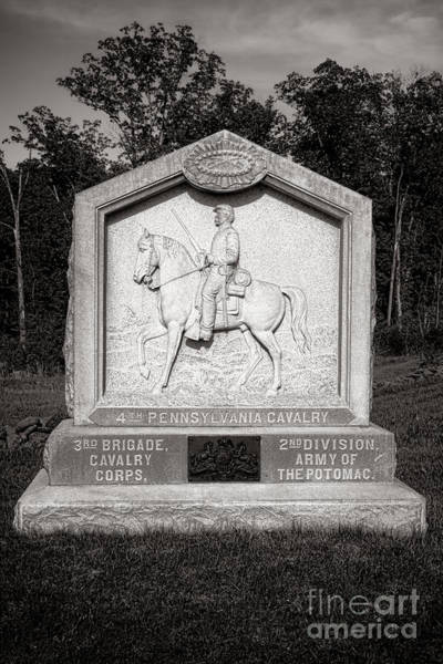Photograph - Gettysburg National Park 4th Pennsylvania Cavalry Monument by Olivier Le Queinec
