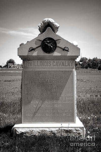 Photograph - Gettysburg National Park 8th Illinois Cavalry Monument by Olivier Le Queinec
