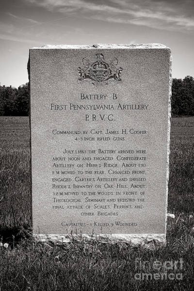 Wall Art - Photograph - Gettysburg National Park First Pennsylvania Artillery Monument by Olivier Le Queinec