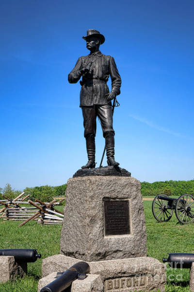 First Officer Photograph - Gettysburg National Park Major General John Buford Memorial by Olivier Le Queinec