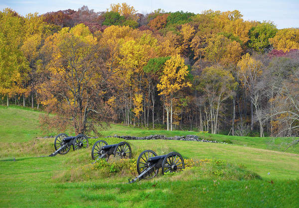 Photograph - Gettysburg Pennsylvania Cannons In Autumn by Bill Cannon