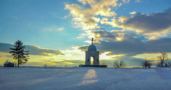 Photograph - Gettysburg - Sunset In Snow by Bill Cannon