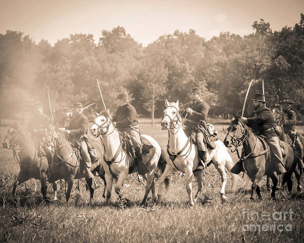 Photograph - Gettysburg  Union Cavalry 7901s  by Cynthia Staley