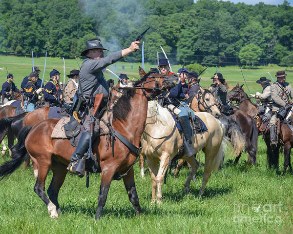 Photograph - Gettysburg  Union Cavalry 7920c  by Cynthia Staley
