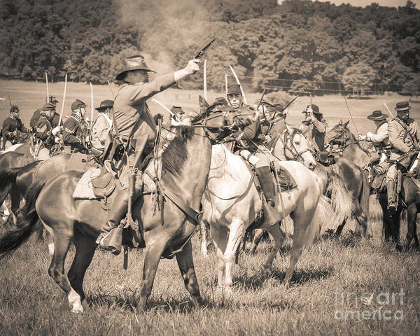 Photograph - Gettysburg  Union Cavalry 7920s  by Cynthia Staley