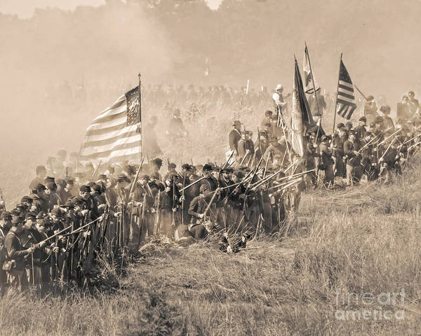Photograph - Gettysburg Union Infantry 8948s by Cynthia Staley