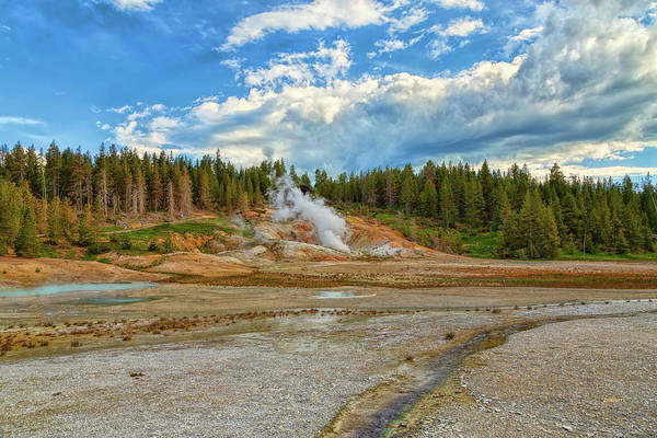Photograph - Geyser Basin At Yellowstone by John M Bailey