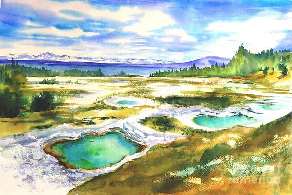 Painting - Geyser Basin, Yellowstone by Betty M M Wong