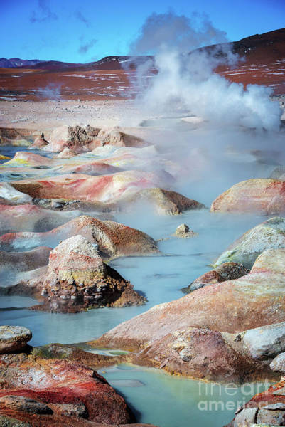 Bolivia Photograph - Geysers Sol De Manana, Bolivia by Delphimages Photo Creations