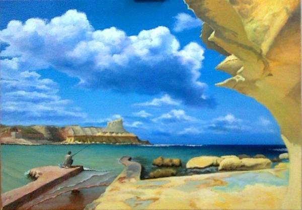 Benny Painting - Ghar Ix-xwejni, Gozo by Benny Brimmer