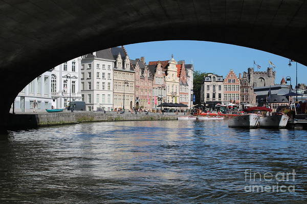 Photograph - Ghent Guild Houses Through Canal Bridge by Carol Groenen