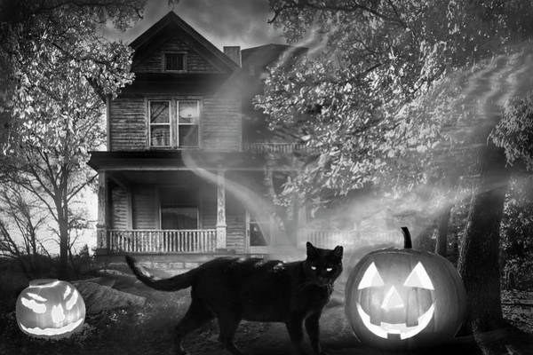 Photograph - Ghost At Halloween In Black And White by Debra and Dave Vanderlaan