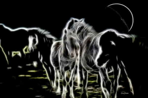 Digital Art - Ghost Horses - Sketch by Ericamaxine Price
