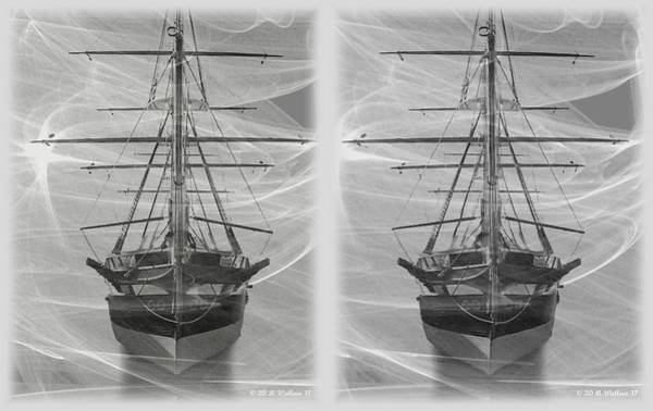 Fx Photograph - Ghost Ship - Gently Cross Your Eyes And Focus On The Middle Image by Brian Wallace