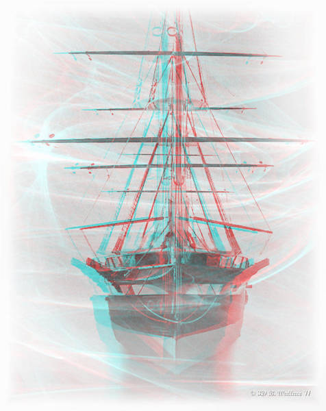 Anaglyph Photograph - Ghost Ship - Use Red-cyan 3d Glasses by Brian Wallace