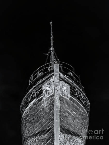 Wall Art - Photograph - Ghost Ship Old Wooden Fishing Boat At Night Iceland by Edward Fielding