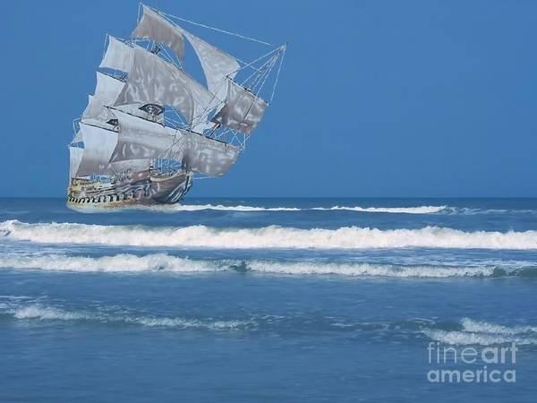 Shipwreck Digital Art - Ghost Ship On The Treasure Coast by D Hackett