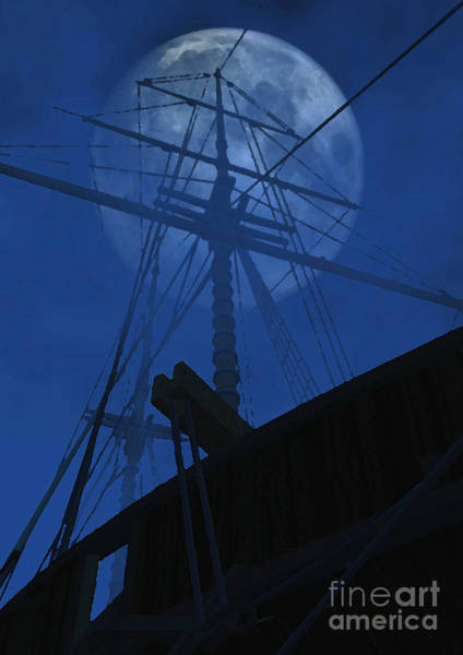 Schooner Digital Art - Ghost Ship by Richard Rizzo
