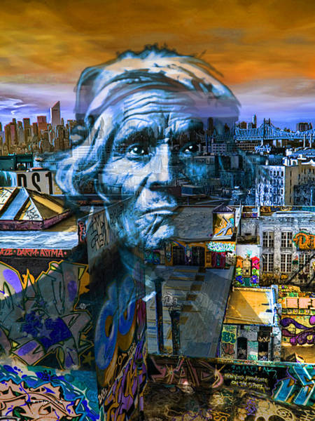 Manhattan Skyline Painting - Ghost Tribe Native Americans In New York Blue by Tony Rubino