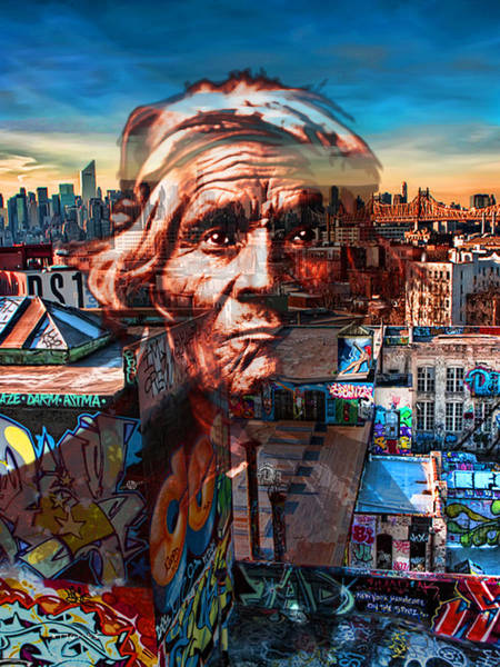 Manhattan Skyline Painting - Ghost Tribe Native Americans In New York Red by Tony Rubino