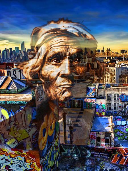 Manhattan Skyline Painting - Ghost Tribe Native Americans In New York Sepia by Tony Rubino