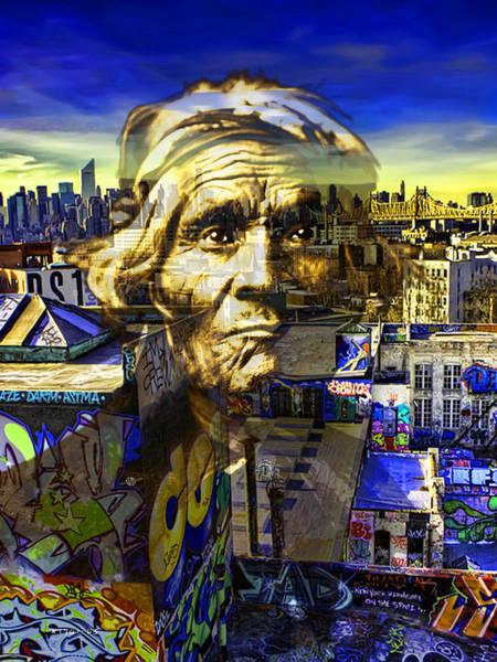 Manhattan Skyline Painting - Ghost Tribe Native Americans In New York Yellow by Tony Rubino