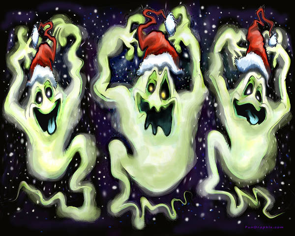 Digital Art - Ghostly Christmas Trio by Kevin Middleton