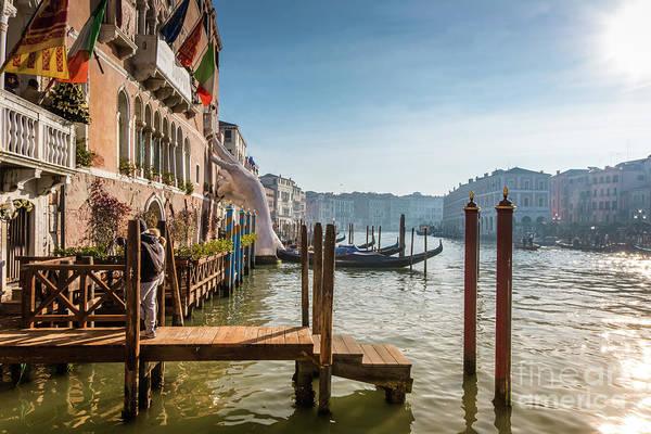 Photograph - Giant Hands Of Venice's Grand Canal  by Marina Usmanskaya