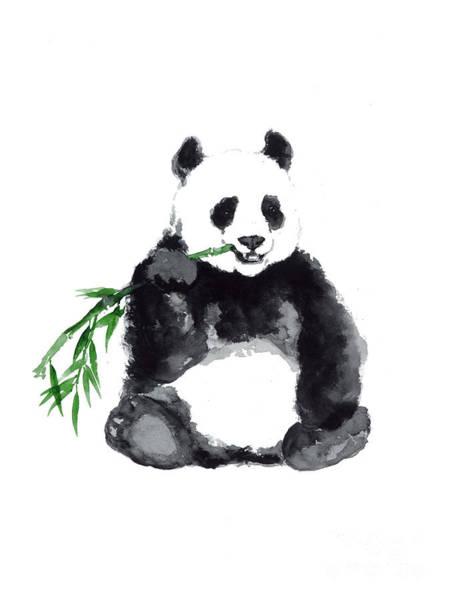 Panda Drawing Painting - Giant Panda Minimalist Painting by Joanna Szmerdt