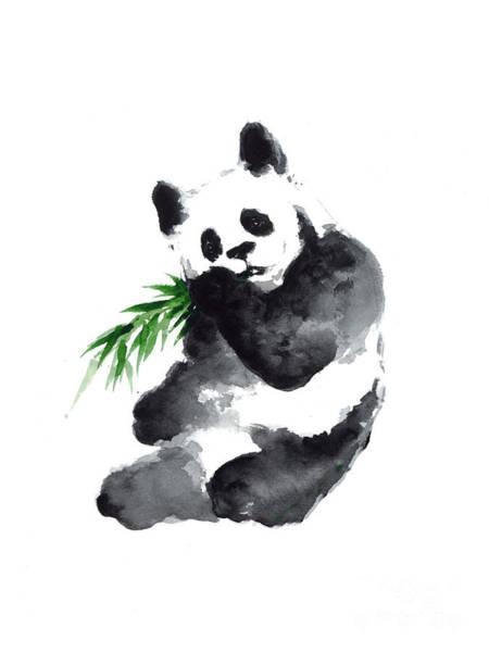 Panda Drawing Painting - Giant Panda Watercolor Art Print Painting by Joanna Szmerdt