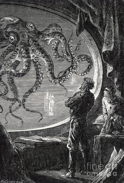 Jules Verne Wall Art - Drawing - Giant Squid From 20,000 Leagues Under The Sea by Mary Evans Picture Library