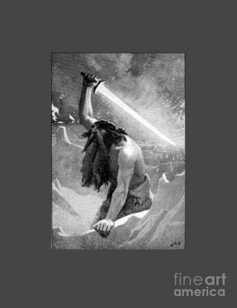 Satanism Digital Art - Giant With A Flaming Sword by Frederick Holiday