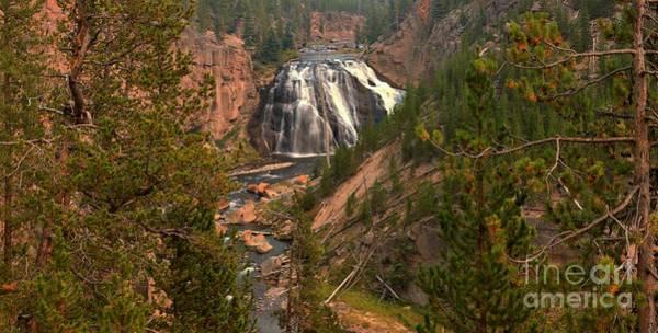 Photograph - Gibbon Falls Yellowstone Panorama by Adam Jewell