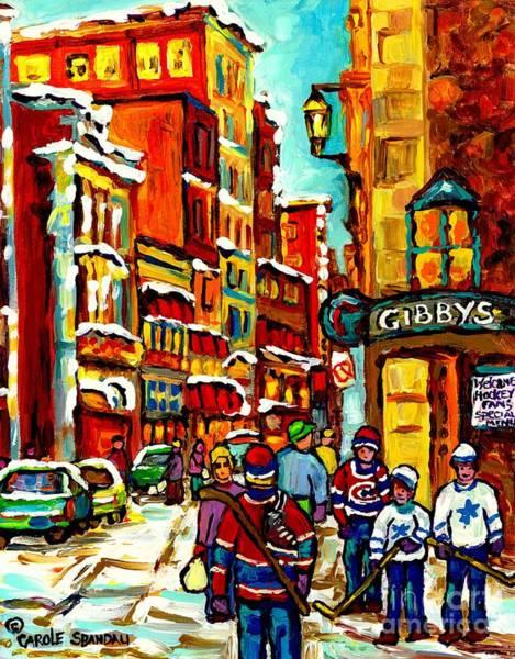 Painting - Gibby's Restaurant Vieux Port Old Montreal Canadian Winter Scene Art Hockey Painting Carole Spandau  by Carole Spandau