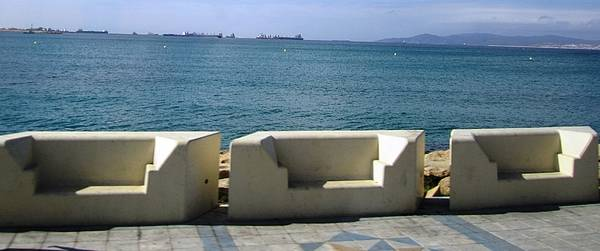 Photograph - Gibraltar Ocean Promenade Walkway Benches II Uk by John Shiron