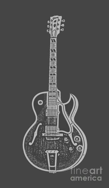 Digital Art - Gibson Es-175 Electric Guitar Tee by Edward Fielding