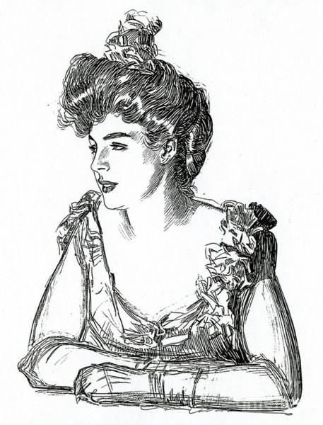 Attractive Drawing - Gibson Girl, 1902 By Charles Dana Gibson by Charles Dana Gibson