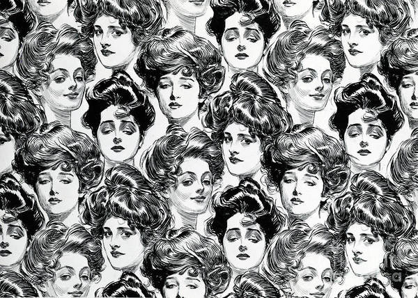 Attractive Drawing - Gibson Girl  Design For Wallpaper by Charles Dana Gibson
