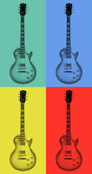 Rock And Roll Jimmy Page Wall Art - Mixed Media - Gibson Guitar Pop Art by Dan Sproul