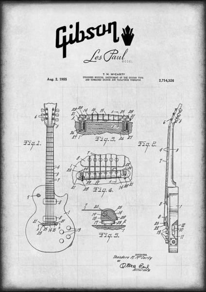 Electric Guitar Digital Art - Gibson Les Paul Electric Guitar Patent 1955 by Daniel Hagerman